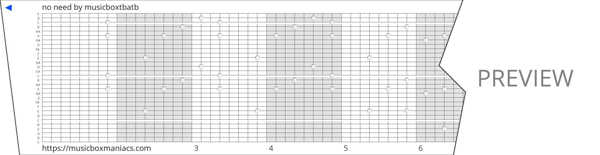 no need 30 note music box paper strip