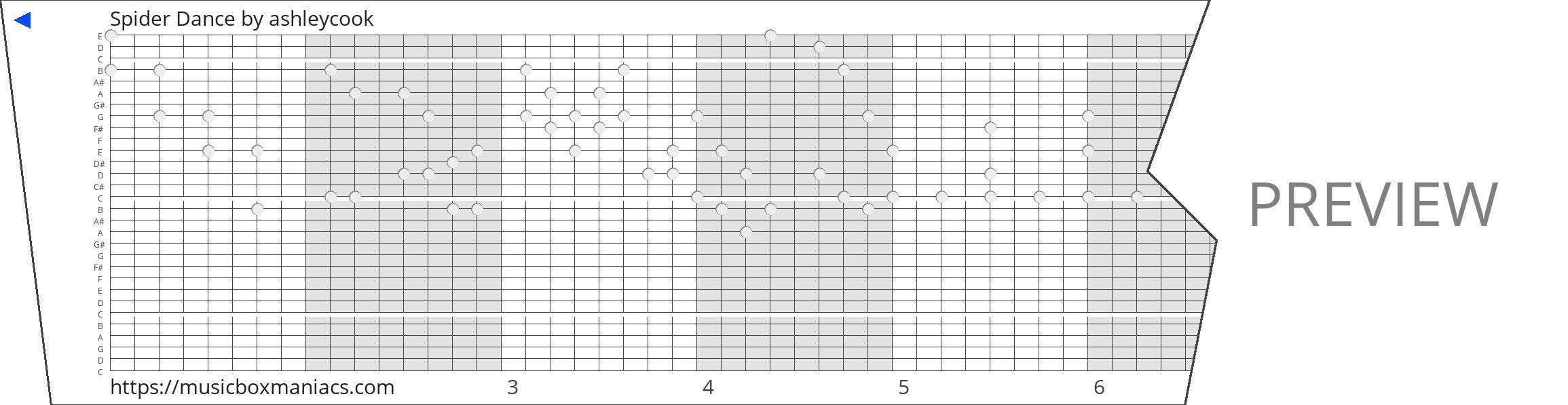 Spider Dance 30 note music box paper strip