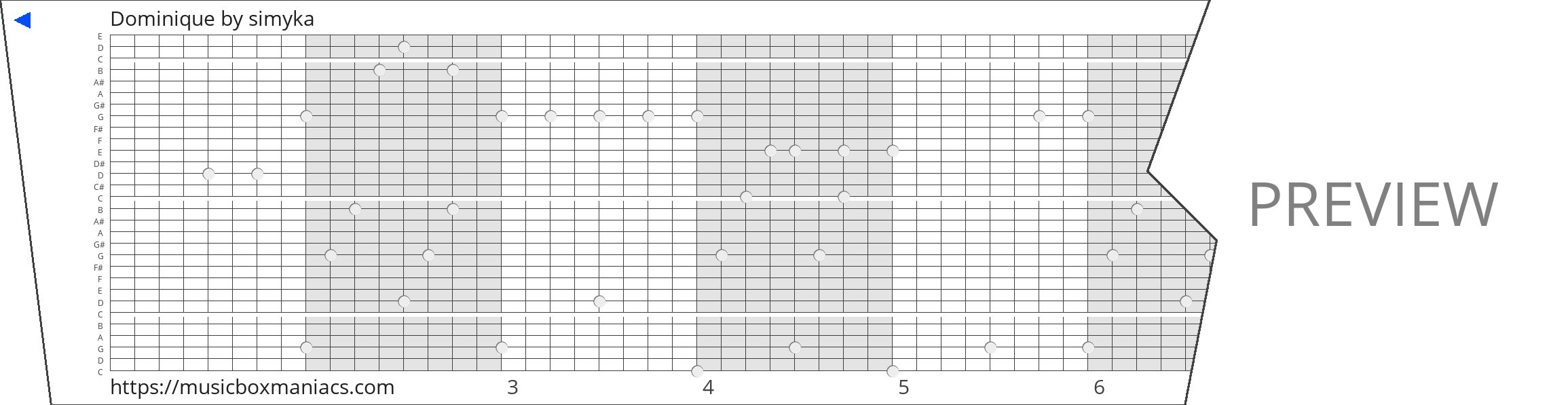 Dominique 30 note music box paper strip