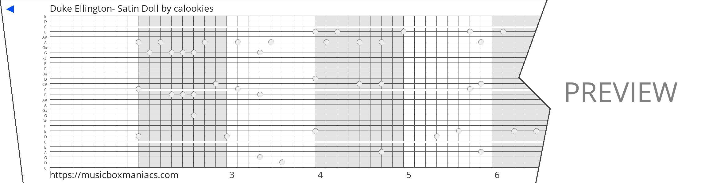 Duke Ellington- Satin Doll 30 note music box paper strip