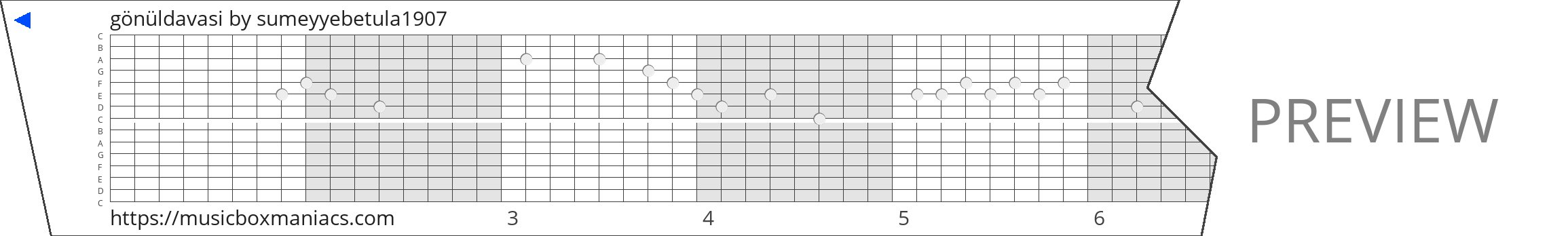 gönüldavasi 15 note music box paper strip