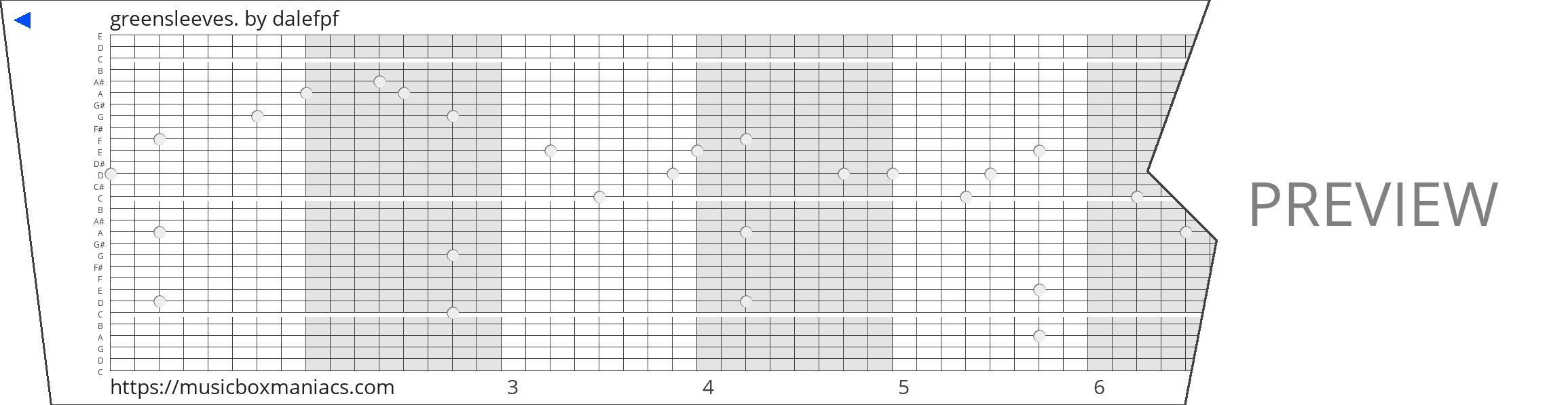 greensleeves. 30 note music box paper strip