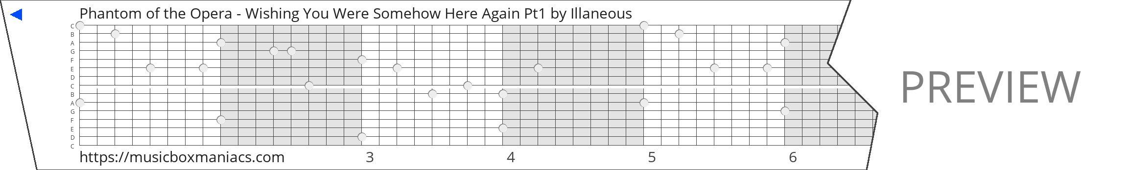 Phantom of the Opera - Wishing You Were Somehow Here Again Pt1 15 note music box paper strip