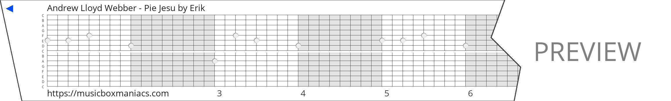 Andrew Lloyd Webber - Pie Jesu 15 note music box paper strip