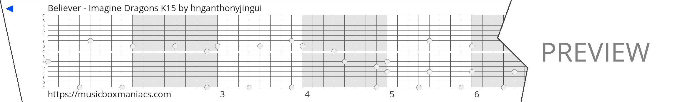 Believer - Imagine Dragons K15 15 note music box paper strip