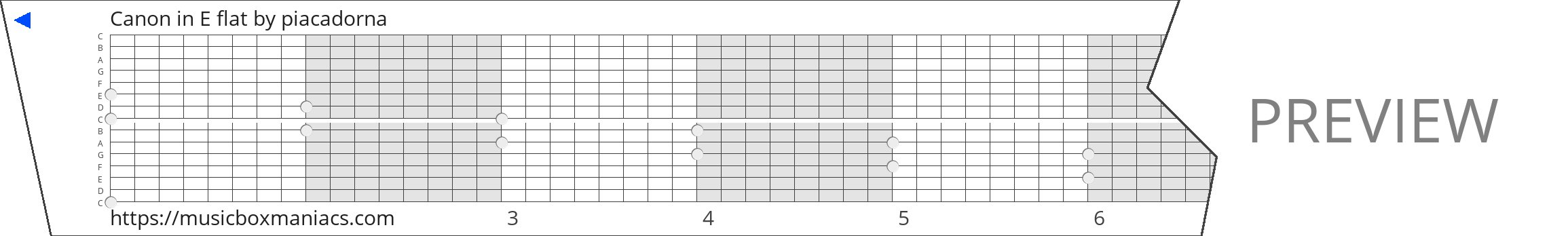Canon in E flat 15 note music box paper strip
