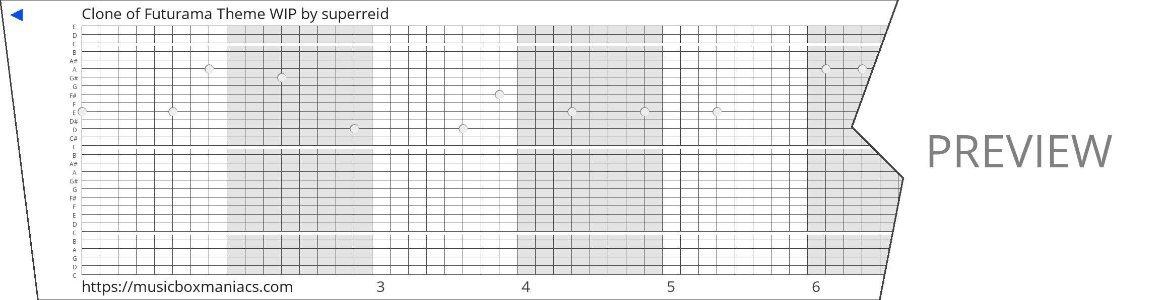Clone of Futurama Theme WIP 30 note music box paper strip