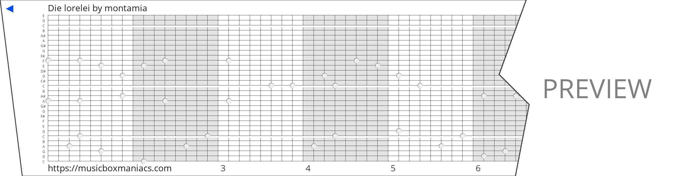 Die lorelei 30 note music box paper strip