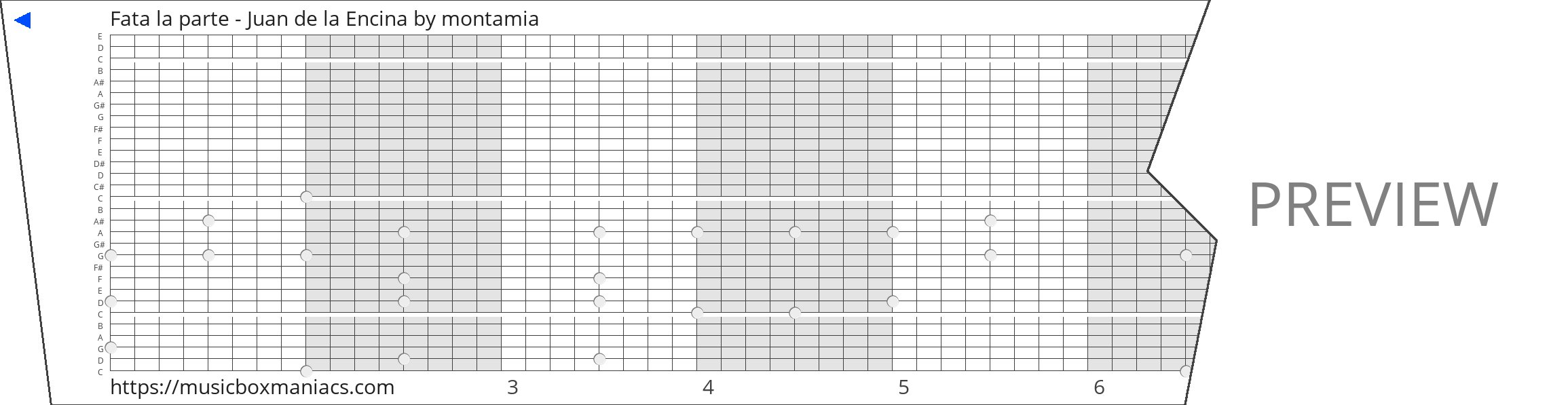Fata la parte - Juan de la Encina 30 note music box paper strip
