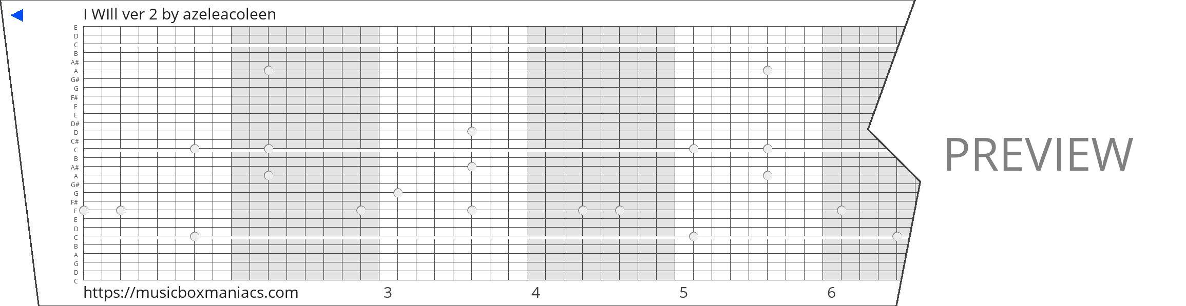 I WIll ver 2 30 note music box paper strip