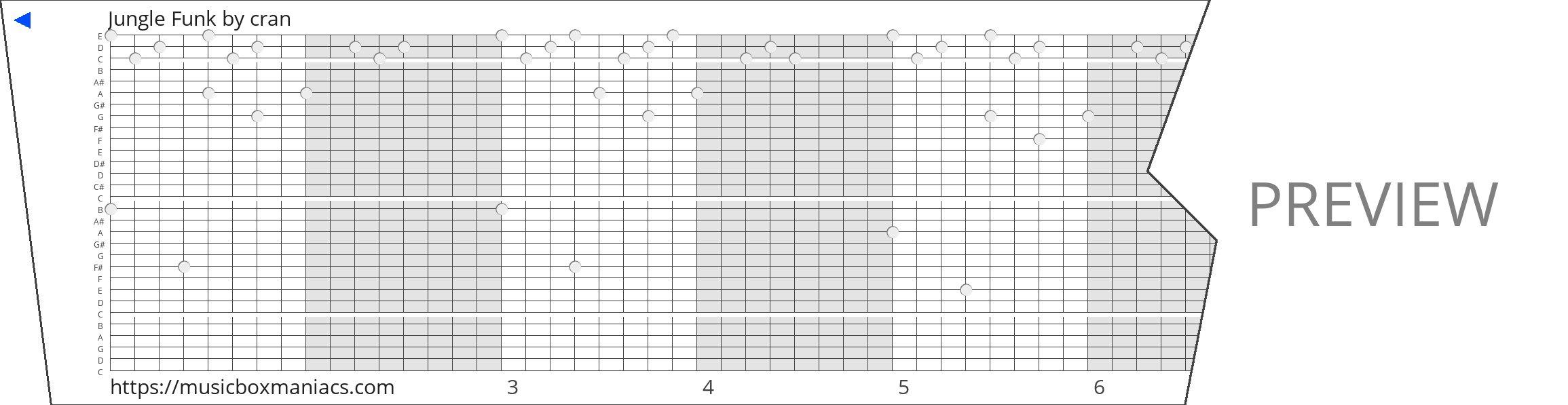 Jungle Funk 30 note music box paper strip