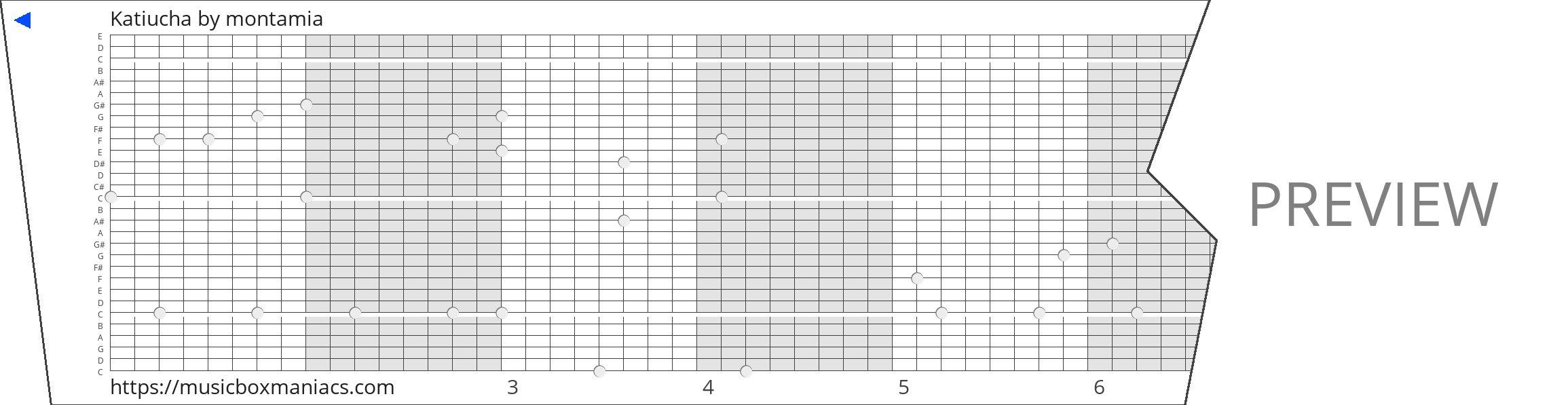 Katiucha 30 note music box paper strip
