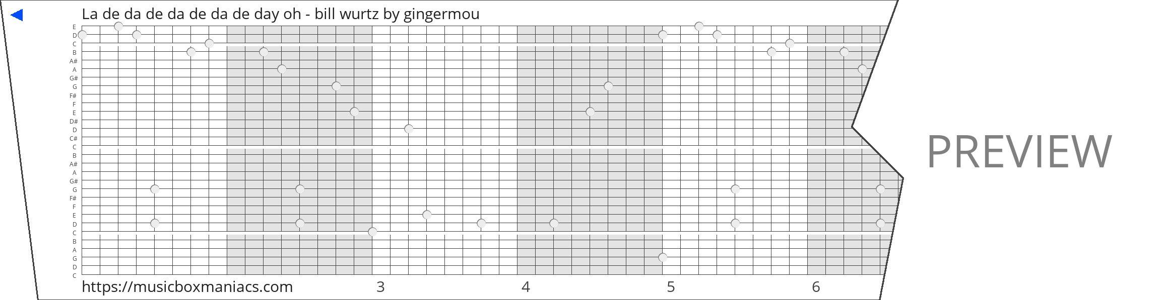 La de da de da de da de day oh - bill wurtz 30 note music box paper strip