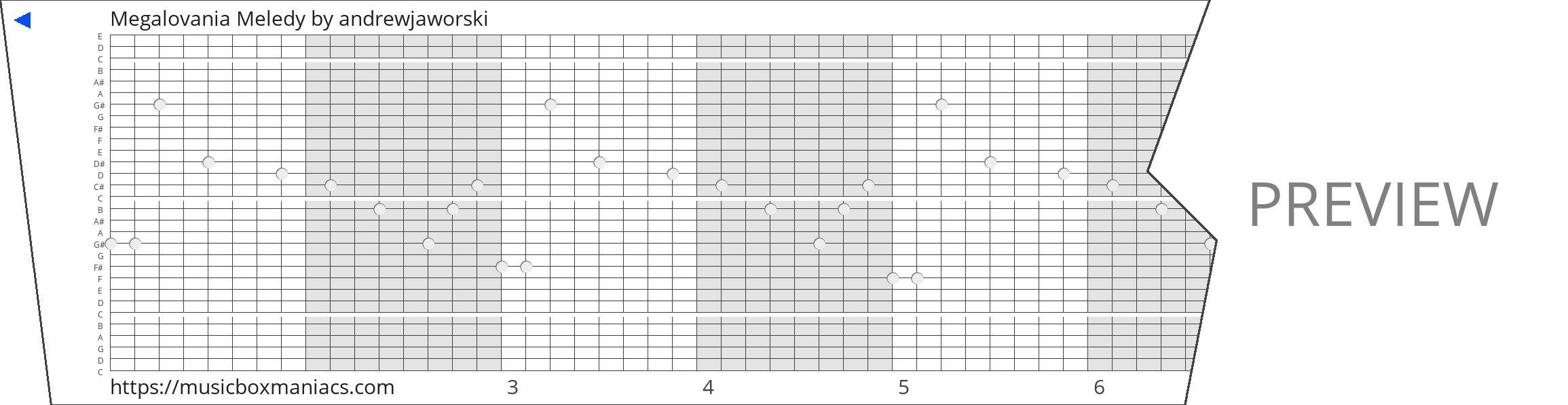 Megalovania Meledy 30 note music box paper strip
