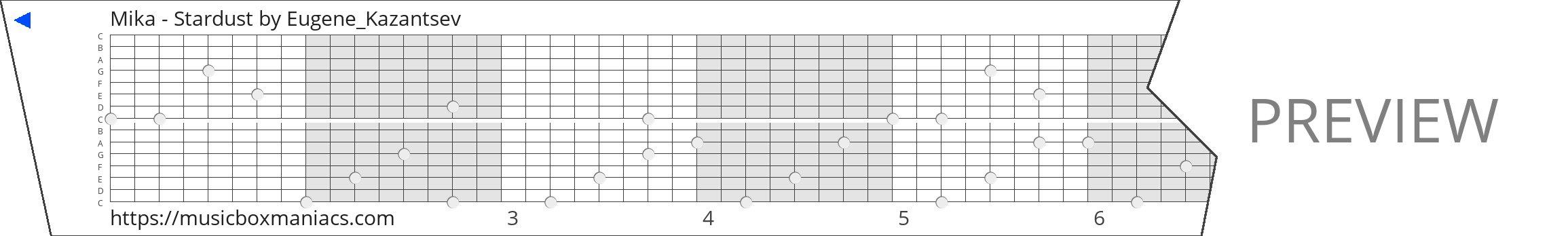 Mika - Stardust 15 note music box paper strip