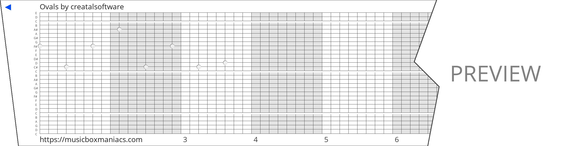 Ovals 30 note music box paper strip