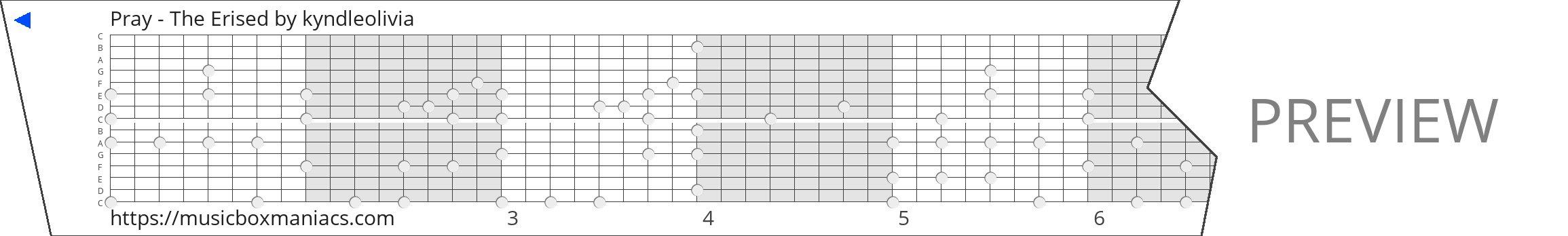 Pray - The Erised 15 note music box paper strip