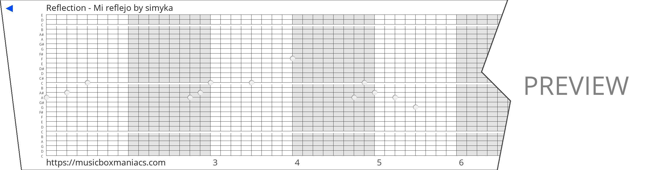 Reflection - Mi reflejo 30 note music box paper strip