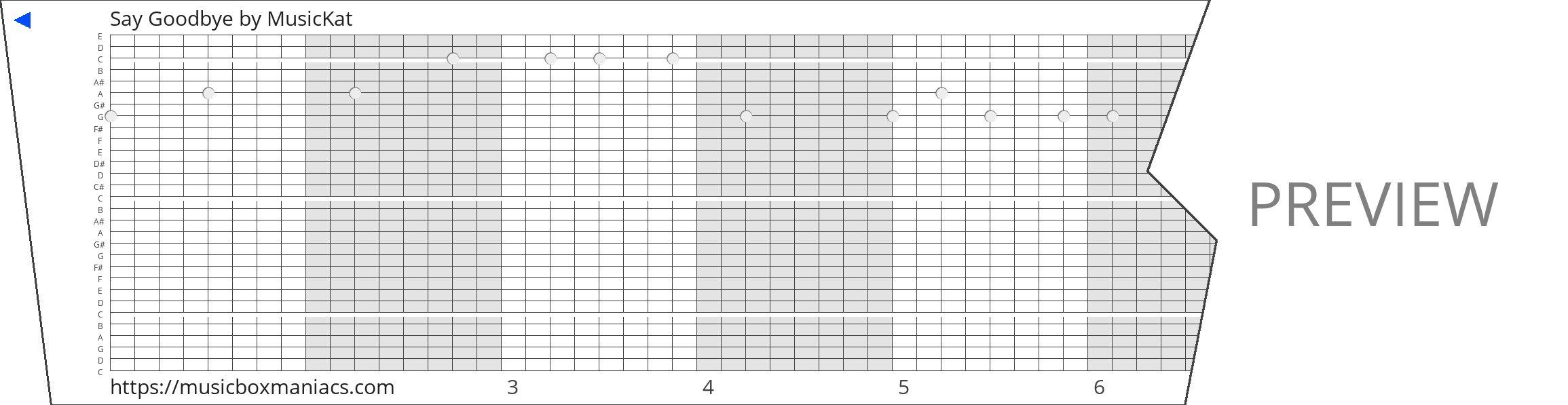 Say Goodbye 30 note music box paper strip