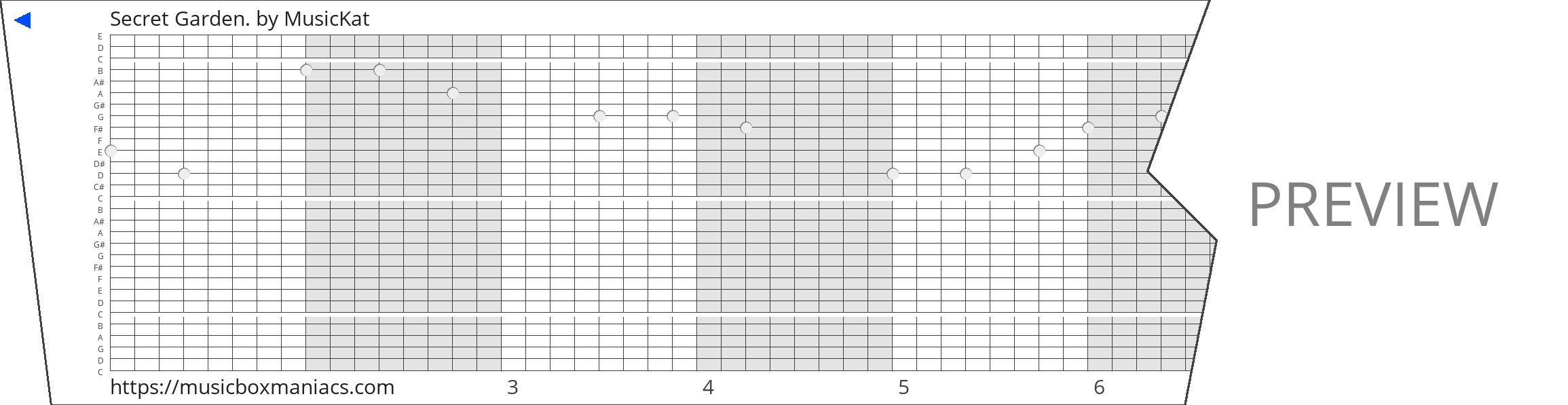 Secret Garden. 30 note music box paper strip
