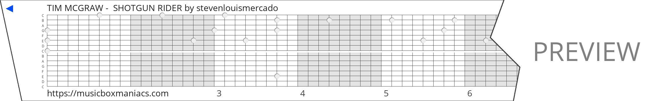 TIM MCGRAW -  SHOTGUN RIDER 15 note music box paper strip