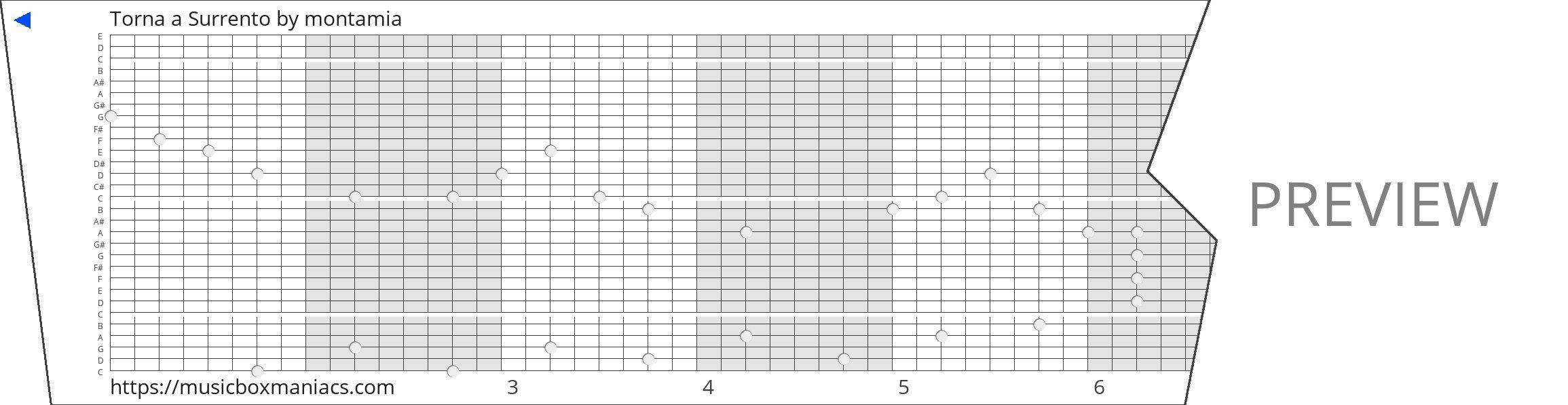 Torna a Surrento 30 note music box paper strip