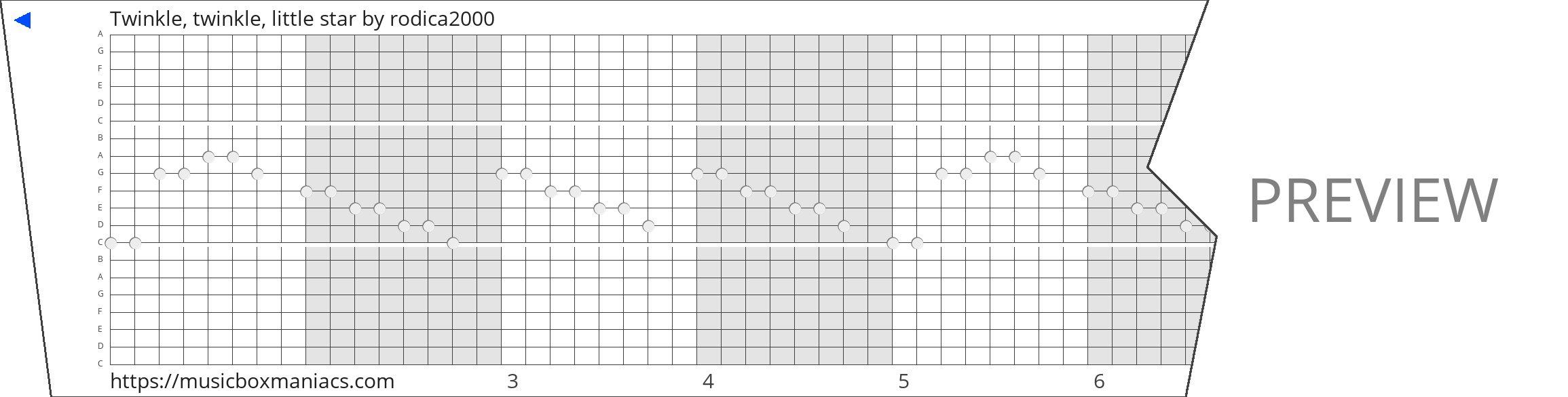 Twinkle, twinkle, little star 20 note music box paper strip