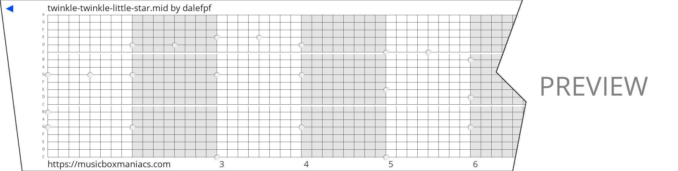 twinkle-twinkle-little-star.mid 20 note music box paper strip