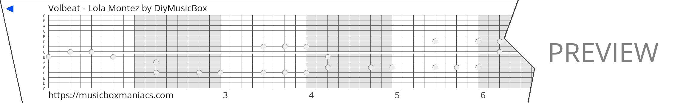 Volbeat - Lola Montez 15 note music box paper strip