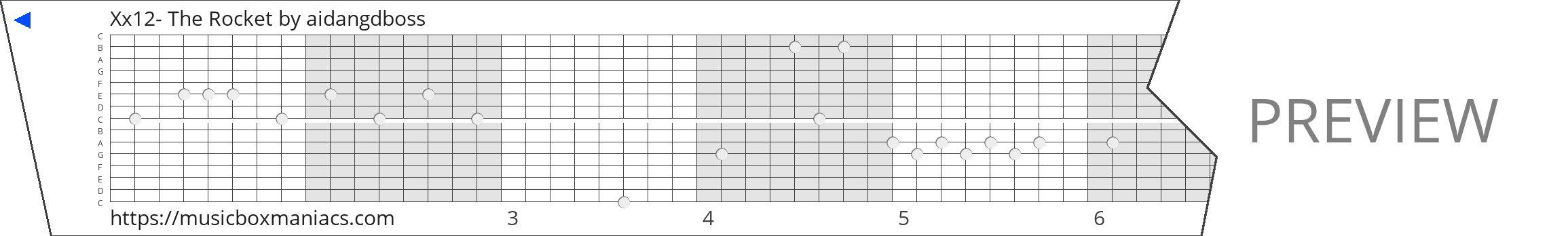 Xx12- The Rocket 15 note music box paper strip