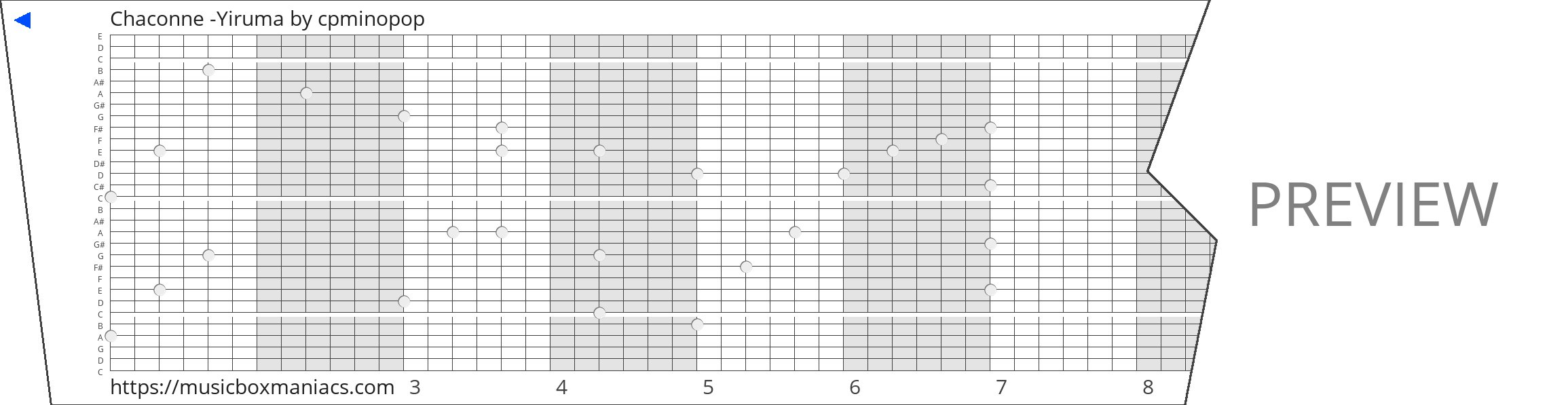 Chaconne -Yiruma 30 note music box paper strip