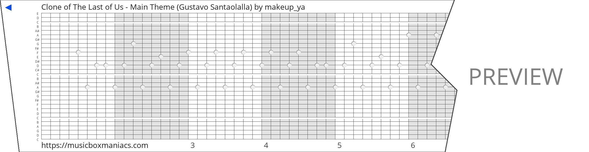 Clone of The Last of Us - Main Theme (Gustavo Santaolalla) 30 note music box paper strip