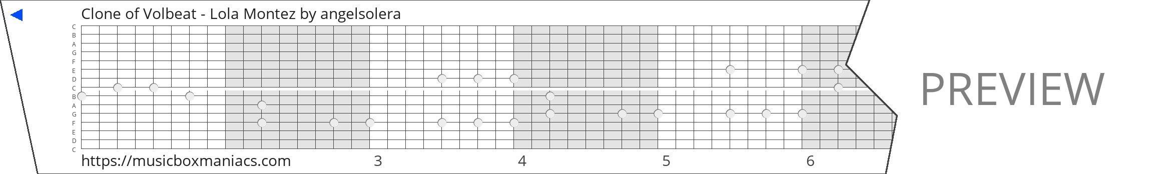 Clone of Volbeat - Lola Montez 15 note music box paper strip