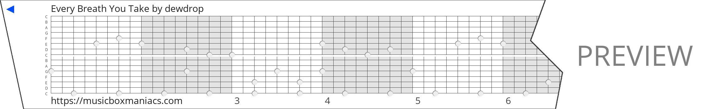 Every Breath You Take 15 note music box paper strip