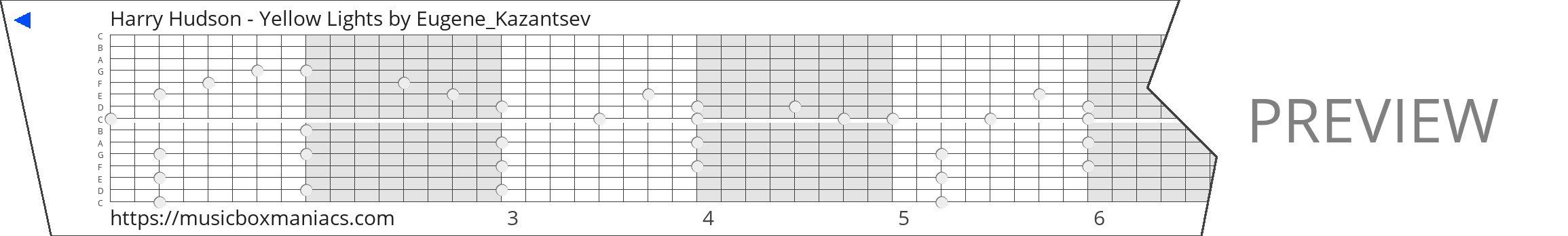 Harry Hudson - Yellow Lights 15 note music box paper strip