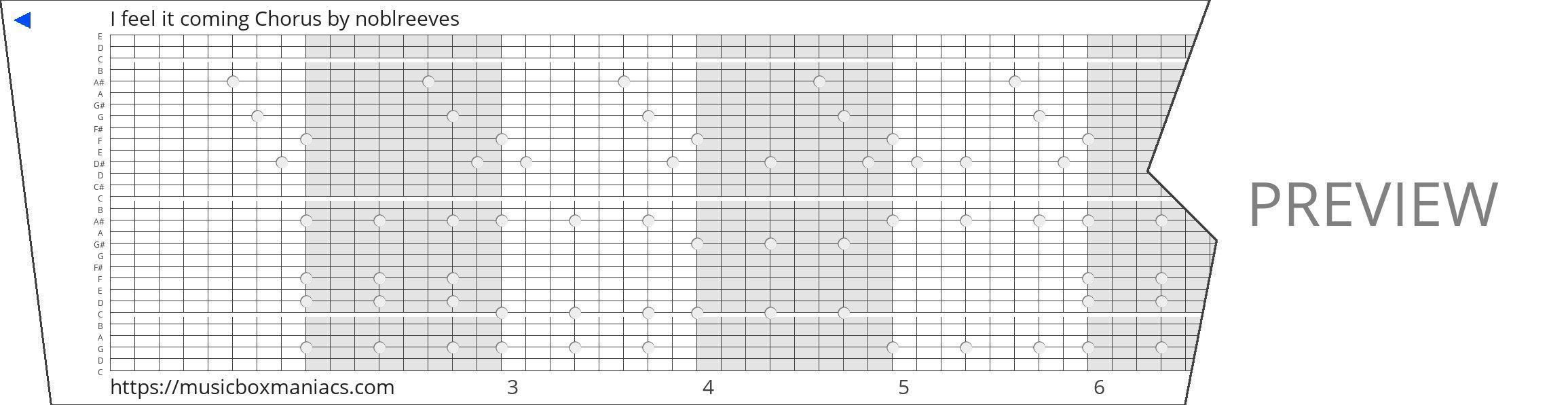 I feel it coming Chorus 30 note music box paper strip