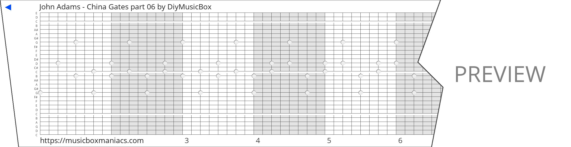 John Adams - China Gates part 06 30 note music box paper strip