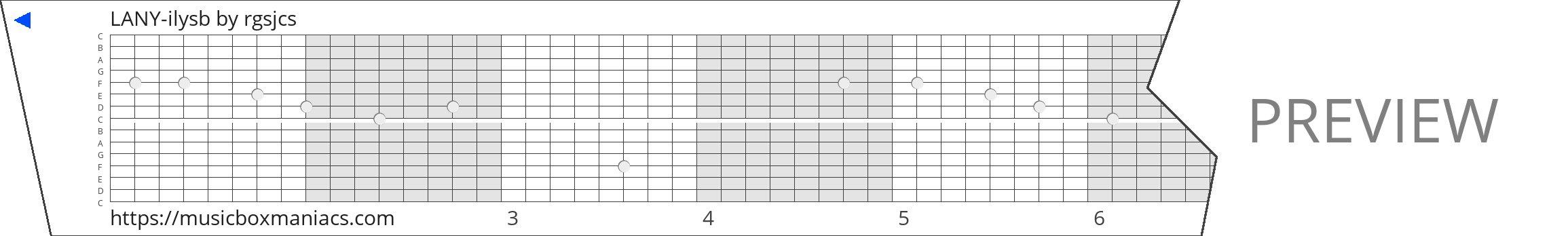 LANY-ilysb 15 note music box paper strip