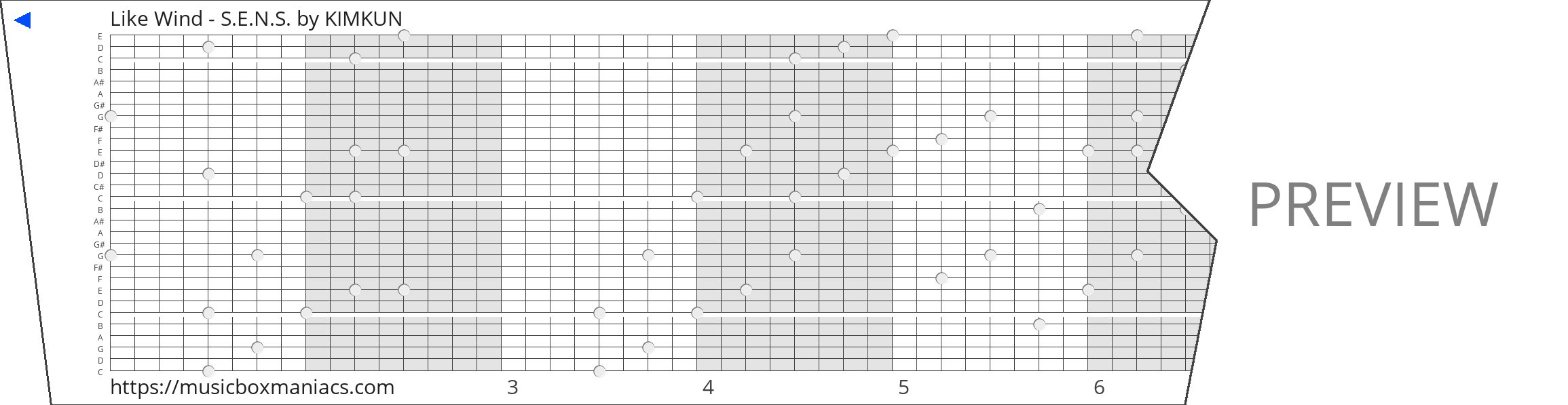 Like Wind - S.E.N.S. 30 note music box paper strip