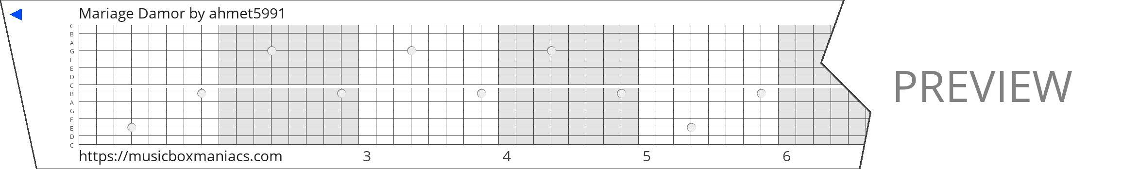 Mariage Damor 15 note music box paper strip