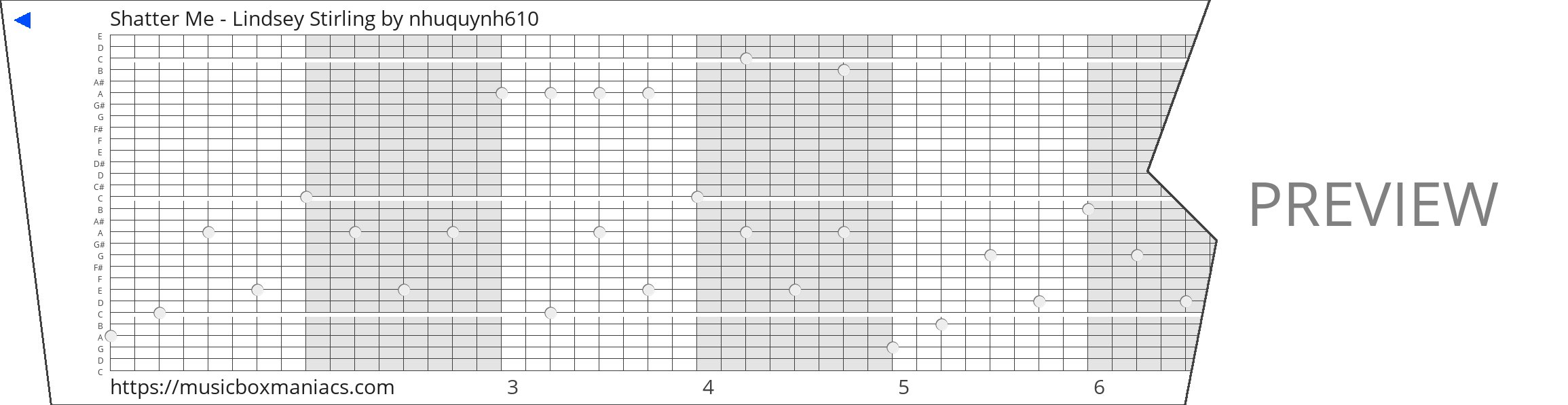 Shatter Me - Lindsey Stirling 30 note music box paper strip