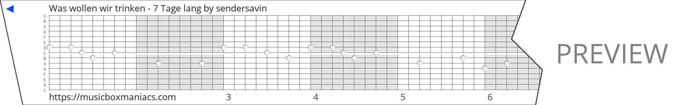 Was wollen wir trinken - 7 Tage lang 15 note music box paper strip