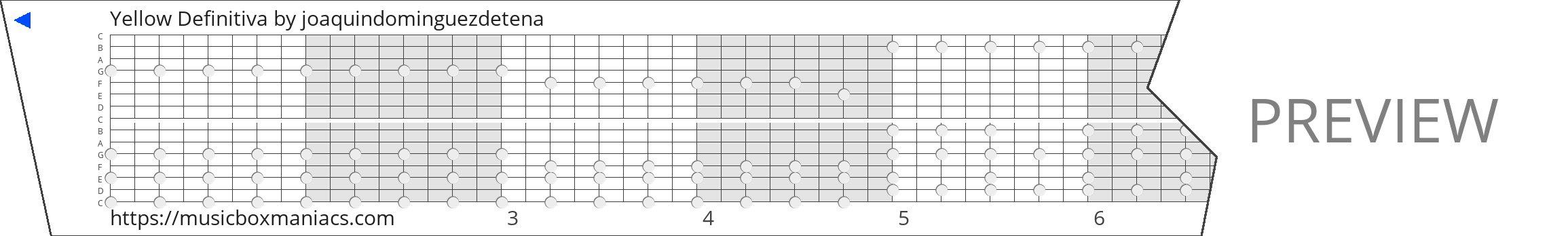 Yellow Definitiva 15 note music box paper strip